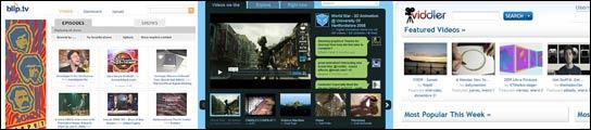 Webs de Blop.tv, Vimeo y Viddler