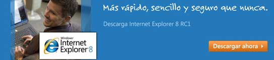 Página web de Internet Explorer 8.