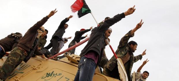 Rebeldes en Ras Lanuf