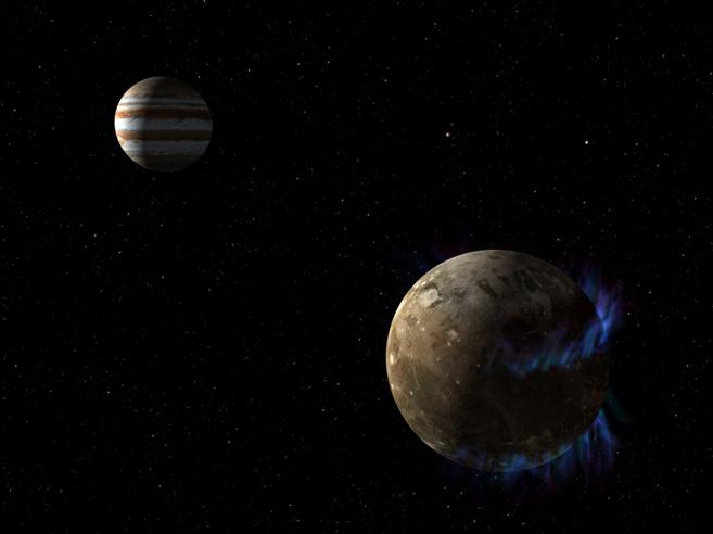 Recreación artística de la luna Ganímedes, con las auroras...