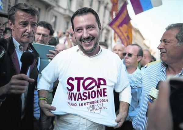 Discurso xenófobo 8Matteo Salvini, el pasado octubre en Milán, en un acto contra los inmigrantes.