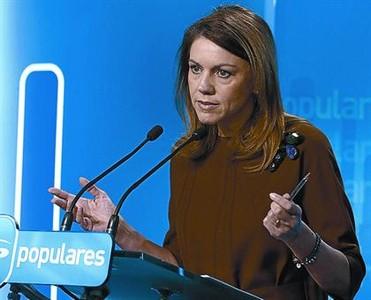 María Dolores de Cospedal, ayer, en la rueda de prensa.