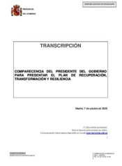 Full appearance of the President of the Government on the economic recovery plan, this October 7, 2020 in Moncloa.  & # 160;