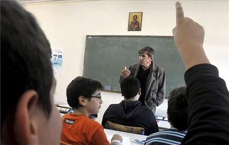Un aula de una escuela en Atenas (Grecia).