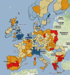 Mapa con el ratio de funcionariado respecto el total de empleos de oficinas a nivel de comunidad autónoma (NUTS 2)