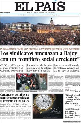 Portada de El País recogida por El Periodico
