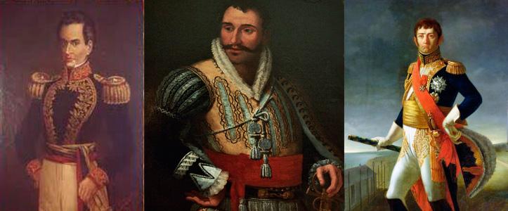 El general español Cruz Mourgeon (izq), el escocés John Downie y el francés Jean de Dieu Soult (der).
