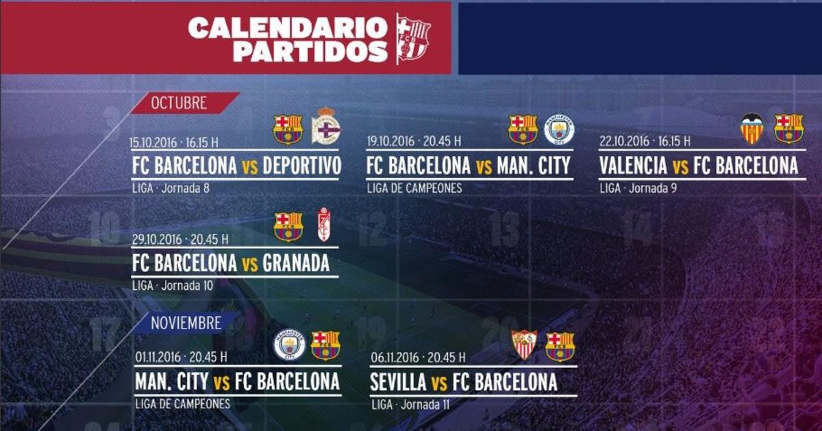 Conozca el duro calendario que le espera al Barça en octubre y noviembre