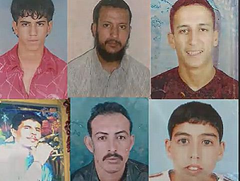 Los cinco heridos en el tiroteo, junto al fallecido Nayem (dcha).