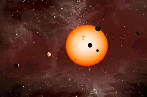 Recreación del sistema planetario de Kepler-11. Nature NASA