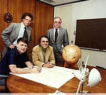 Sagan junto a los otros fundadores de la Sociedad Planetaria. | NASA, JPL.