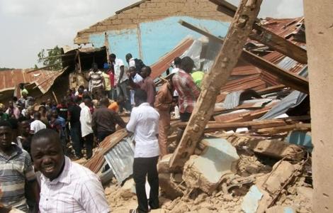 Así ha quedado la iglesia de Biu.   AFP