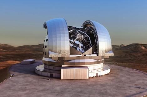 Recreación del aspecto del futuro telescopio E-ELT .  ESO