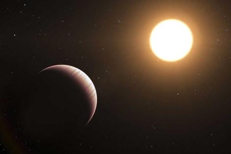 Impresión artística del exoplaneta 'Tau Boötis b' y su estrella. | ESO