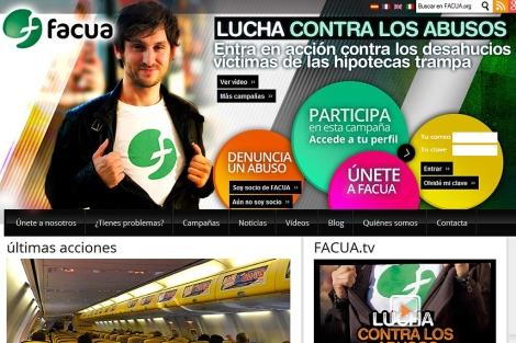 Pantallazo de la página web de FACUA.