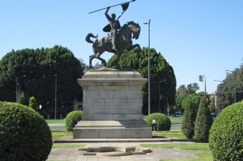 La estatua del Cid que será objeto de restauración. | E.M.