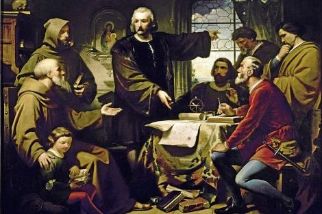 'Colón muestra sus teorías a Fray Pérez', obra de Eduardo Cano de la Peña.