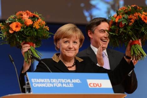 La canciller alemana, Angela Merkel, tras ser reelegida en el congreso de la CDU. / FOTO: Afp