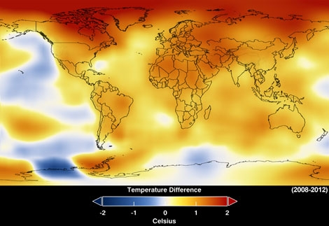 Temperatura global de 2008 a 2012. | NASA