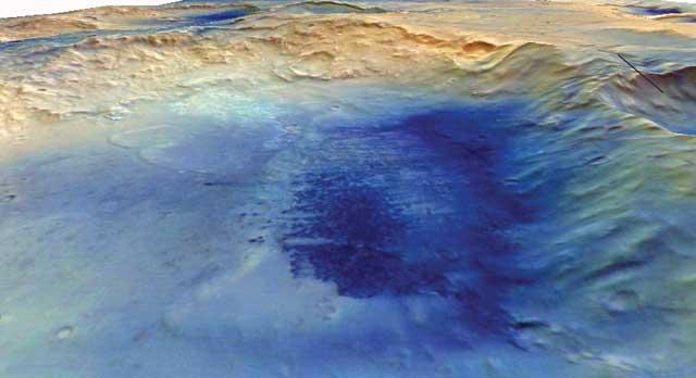 El cráter McLaughlin en una perspectiva en tres dimensiones. | HRSC/MarsExpress/Freie Universität Berlin