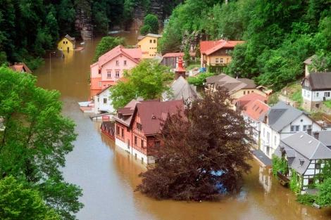 Un vecindario de Decin, en Bohemia del norte (Alemania), afectado por las inundaciones. | Afp