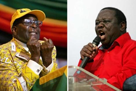 El presidente Robert Mugabe y el 'premier' Morgan Tsvangirai. | Afp