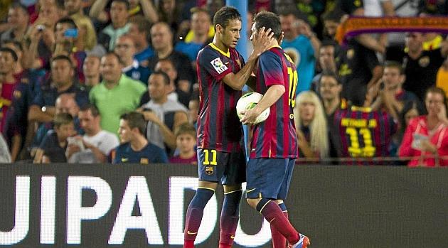 Neymar y Messi, durante el partido de la Supercopa de España en el Camp Nou contra el Atlético / ALEX CAPARRÓS (MARCA)