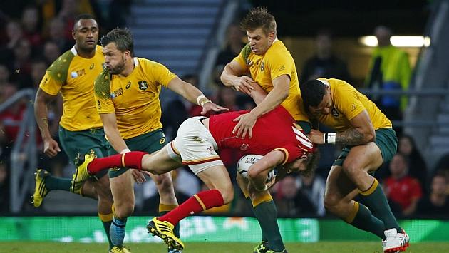 Un momento del encuentro entre Australia-Gales.