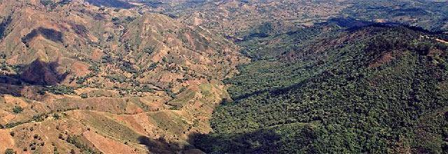 A la izquierda., un Haití deforestado. A la derecha, una República Dominicana verde.   Getty Images