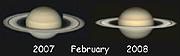 Comparación con un telescopio de aficionado de los anillos en febrero de 2007 (izquierda) y un año después.