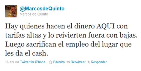 Uno de los tuits de Marcos de Quinto.