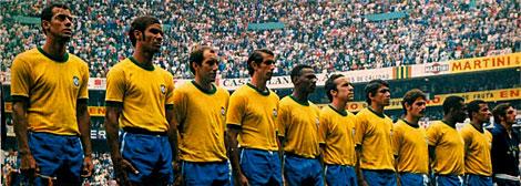 Los once titulares de Brasil en la final del Mundial de 1970.