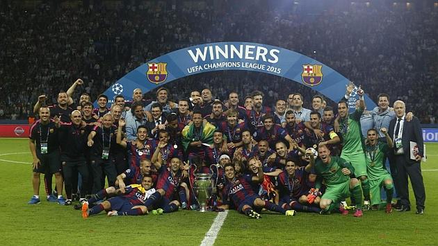 El Barça celebrando su quinta Champions League.