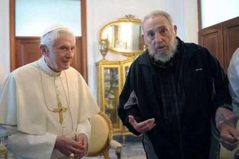 Fidel Castro, en su última aparición pública con motivo de la visita del Papa. | Afp