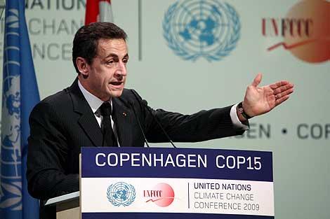 El presidente francés, Nicolas Sarkozy, durante su intervención en Copenhague. | Afp