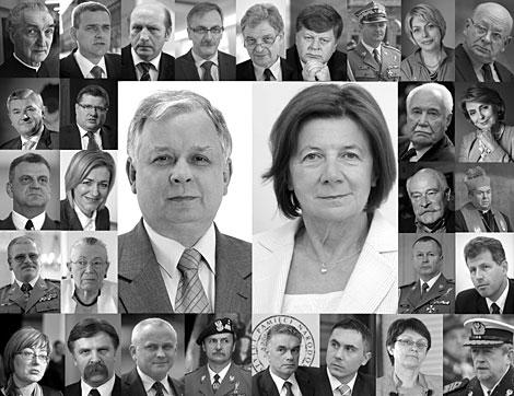 El matrimonio Kaczynski, en el centro, y otras víctimas del siniestro. | Reuters