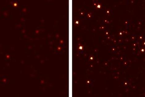Vista del cúmulo globular M3 con un telescopio terrestre convencional (dcha.) y con la nueva óptica (izda.). | M.Hart