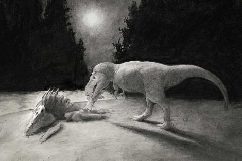 Recreación de un T. rex devorando a otro. | N. Longrich / Yale University