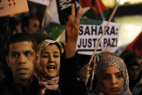 Manifestación en favor de la autodeterminación saharaui en Madrid. | Afp