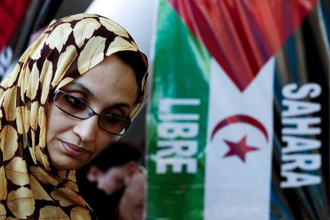 Aminatu Haidar en la Diputación de Málaga el pasado enero. | Efe