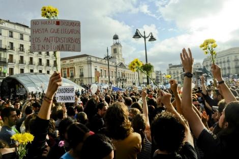 Imagen de una de las manifestaciones en 'el kilómetro cero'. | ELMUNDO.es