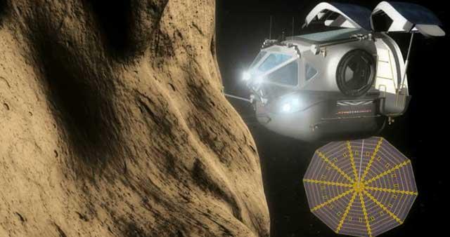 Recración artística de una misión a un asteroide.  NASA