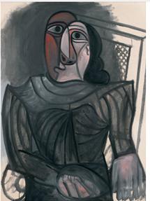 'Femme assise en robe grise'.