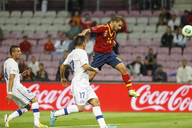El valenciano puso el 1-1 con este remate de cabeza.