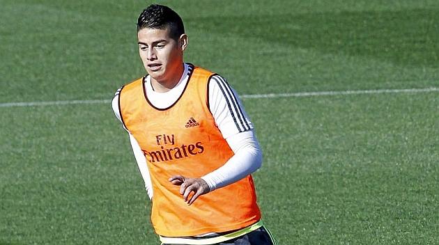James, en el entrenamiento de hoy.
