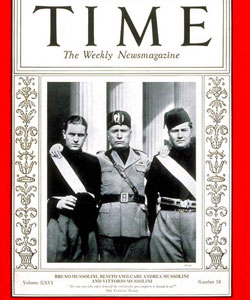 Portada de Time con Mussolini y sus hijos Bruno y Vittorio