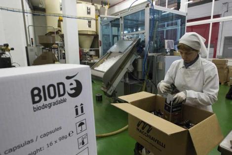 Una empleada de Cafés El Abra manipula sobres y cápsulas biodegradables. | Iñaki Andrés