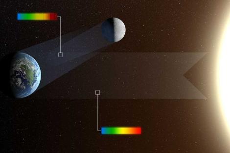 Recreación del reflejo que proyecta la Tierra sobre la Luna.   ESO