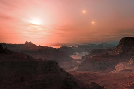 Recreación artística de un atardecer en la súper-Tierra 'Gliese 667 Cc'. | ESO