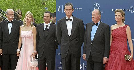 Corinna con el Rey y los duques de Palma en la entrega de los premios Laureus en 2006.